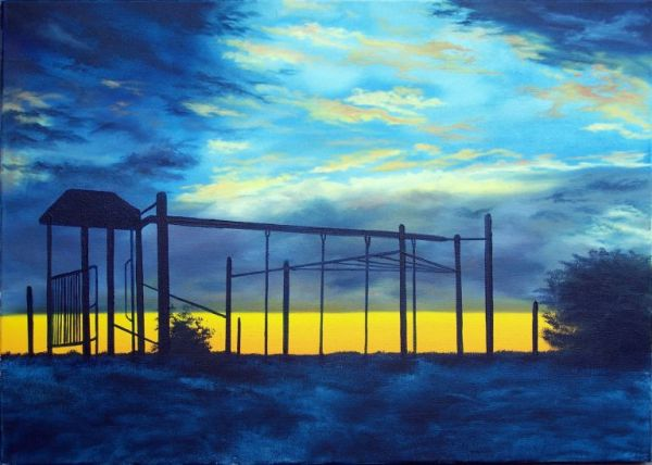 Endeavour Hills Playground Sunset Oil Painting