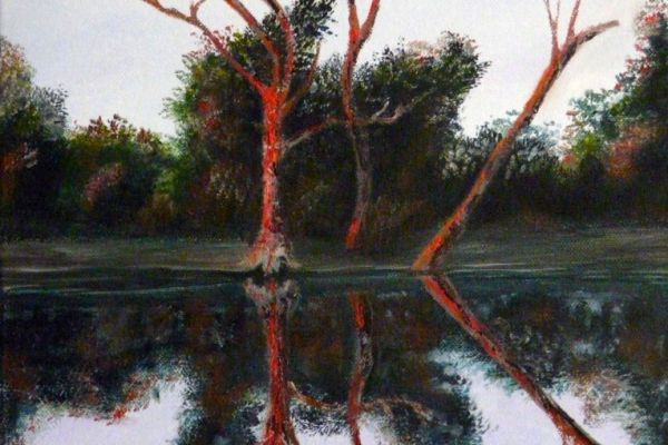 First Light over the Wimmera River, Victoria, Australia. Landscape Oil Painting