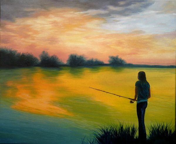 (Sold) Solitary Anglers Sunset Original Oil Painting (Sold)