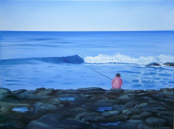 (Sold) Pink Snapper Rock Fishing - Oil Painting (Sold)