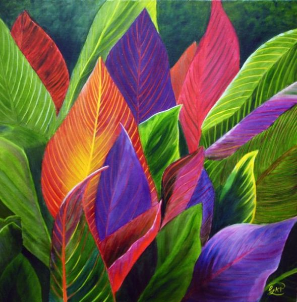 (Sold) Backlit Canna Lily Leaves 02 floral Original Oil Painting by Garry Purcell (Sold)
