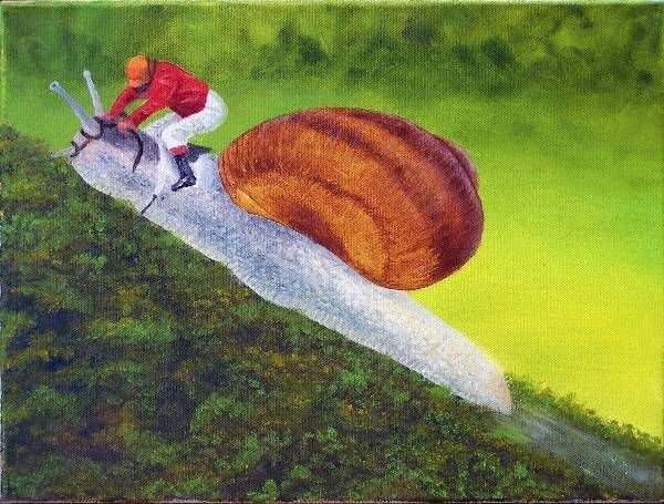 (Sold) Racing Snail Oil Painting Original by Garry Purcell (Sold)
